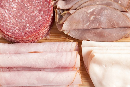 deli meat slices ham salami