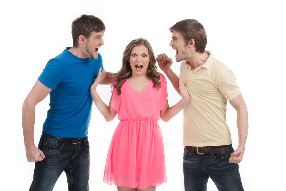 men fighting over a woman's attention