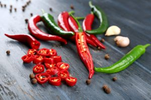 green and red chili peppers