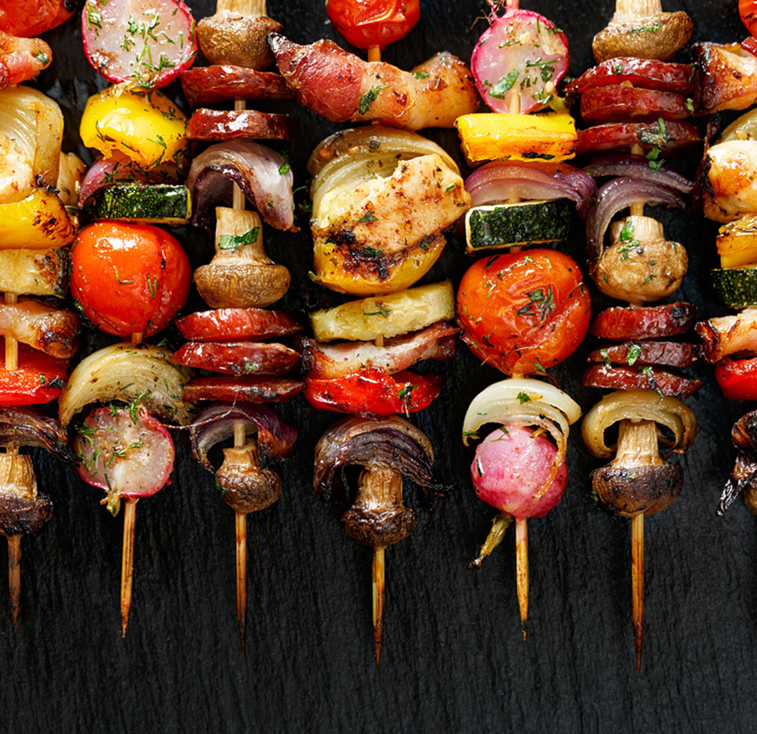 meat and vegetable kebabs bbq grill