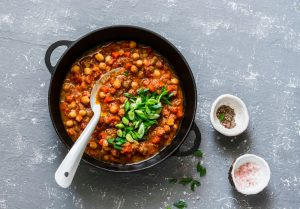 slow cooked beans in a pot