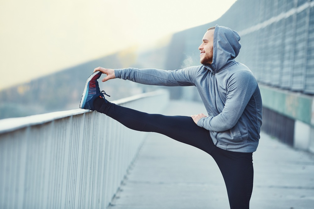 stretching before a morning run