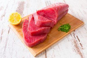 fresh salmon slices