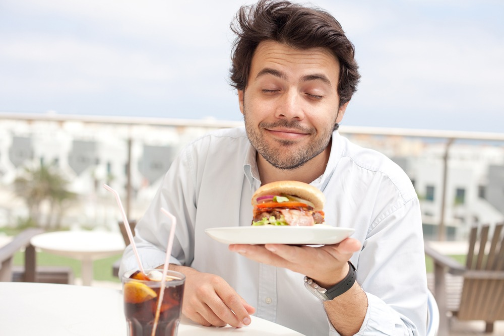 happy man with food